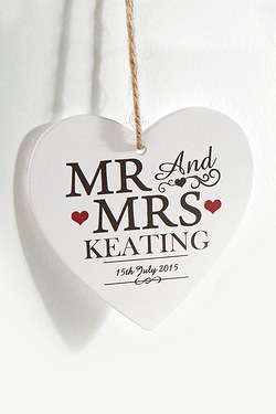 Personalised Mr and Mrs Personalised Wooden Heart Decoration