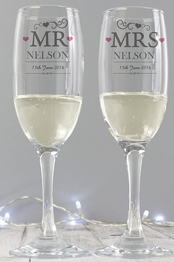 Personalised Mr and Mrs Pair of Flutes