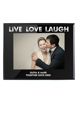 Personalised Live Love Laugh Black Glass Frame