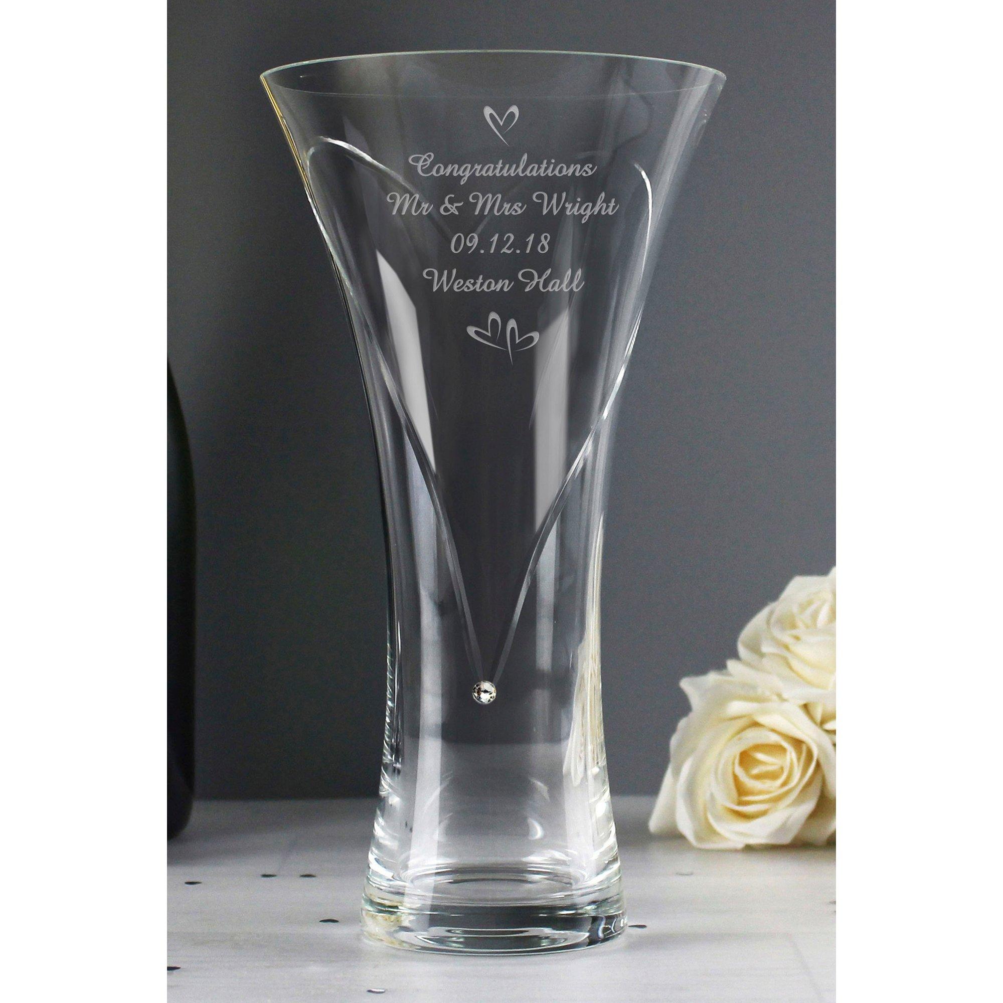 Image of Personalised Swarovski Heart Diamante Vase