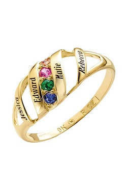 Personalised 9ct Gold Birthstone 4 Names Ring