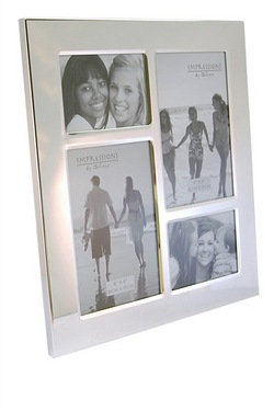 Personalised - Impressions Silver Plated 4 Aperture Collage Frame
