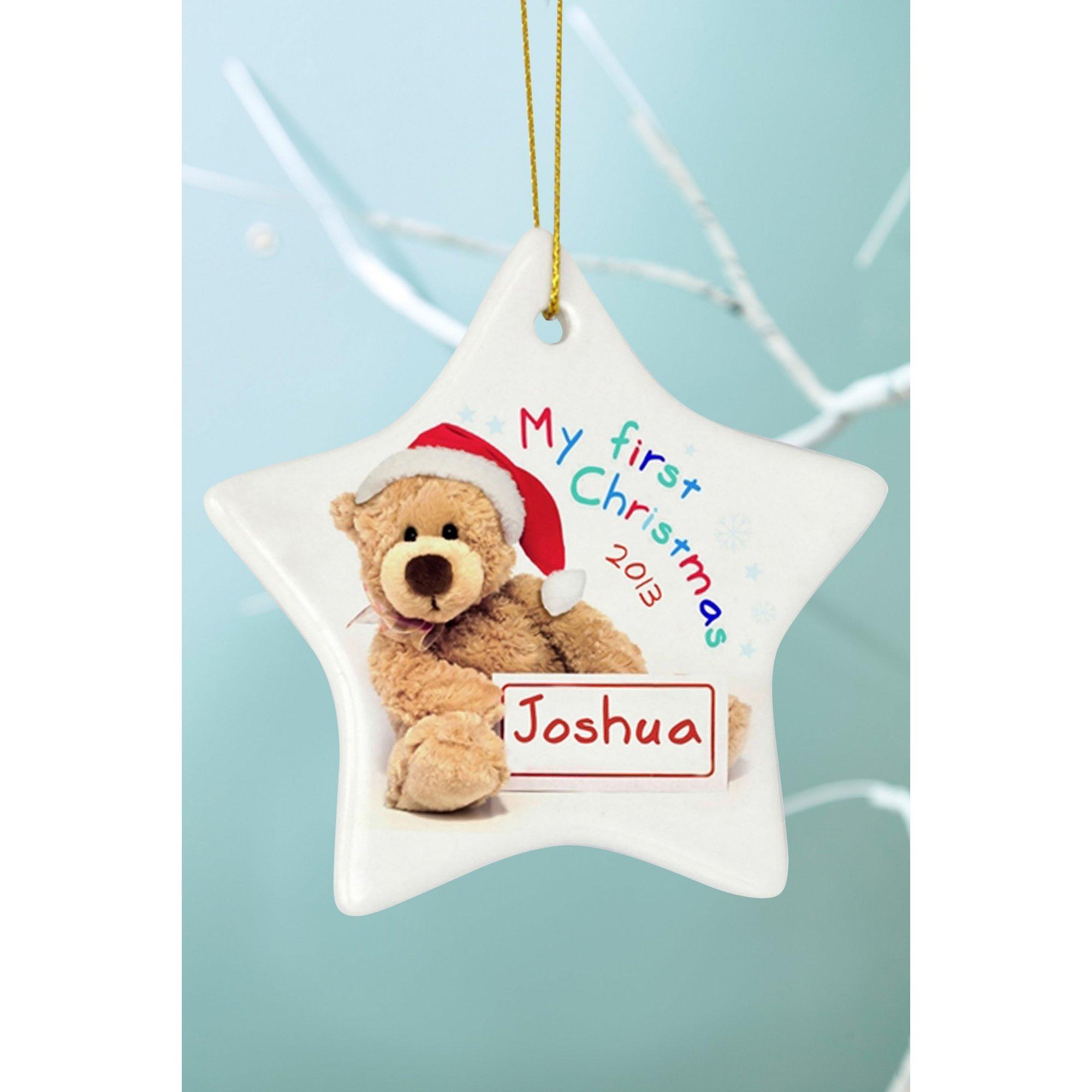 Image of Personalised 1st Christmas Ceramic Bear Star Decoration