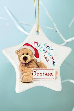 Personalised - My First Christmas Teddy Ceramic Star Decoration