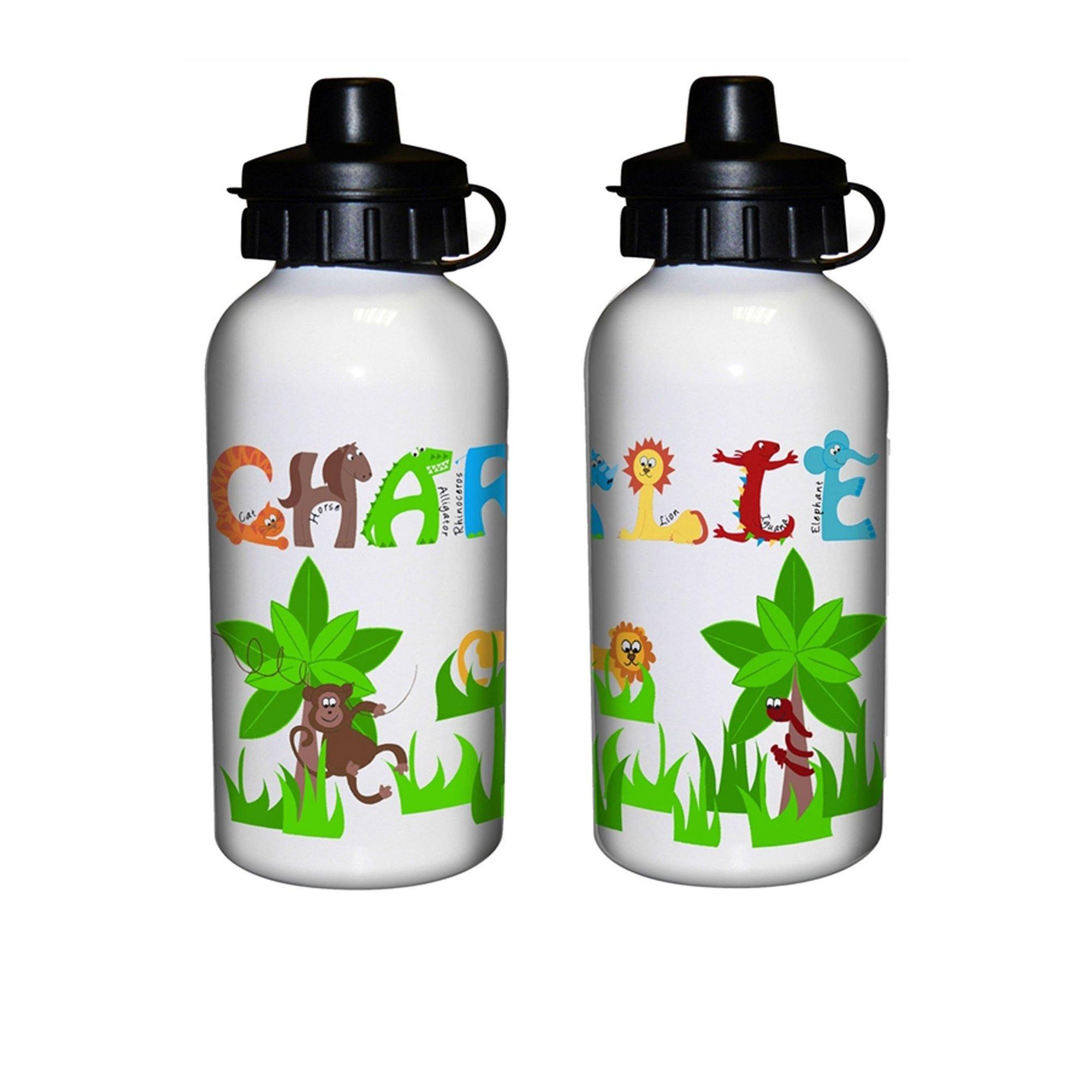 Image of Personalised Animal Alphabet Drinks Bottle Boys