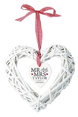 Personalised Mr and Mrs Wicker Heart Decoration