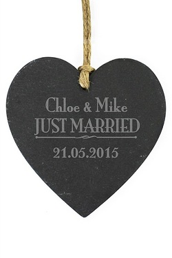 Just Married...Slate Heart Personalised Decoration