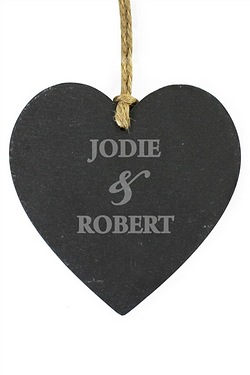 Couples Slate Heart Personalised Decoration