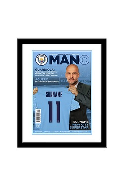 Personalised Manchester City Magazine Front Cover - Framed