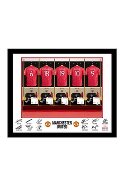 Personalised Manchester United Dressing Room Print - Framed