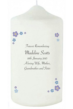 Personalised Forget Me Not Memorial Candle