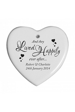 Happily Ever After Personalised Hanging Heart Plaque