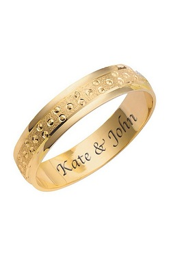 Personalised 9ct Gold Champagne Bubble Wedding Rings - 4mm