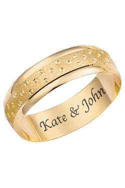Personalised 9ct Gold Champagne Bubble Wedding Rings - 6mm