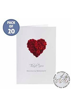 Personalised Rose Heart Thank You Cards
