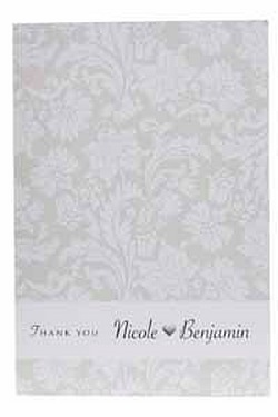 Cream Personalised Damask Thank You Cards