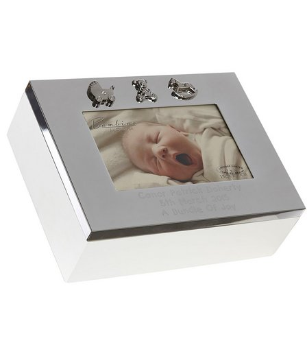 Personalised Silver Plated Baby Keepsake Box Studio