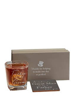 Personalised Whisky Glass/Coaster Set - Father of The Groom