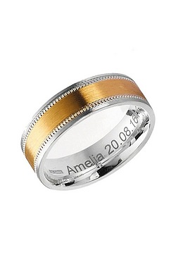 Silver and Gold Wedding Band Ring