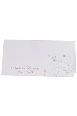 40 Personalised Swirly Hearts Wedding Place Cards