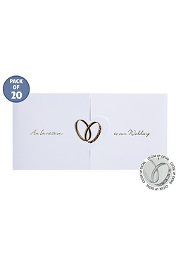 Personalised Rings Gold Wedding Invitations