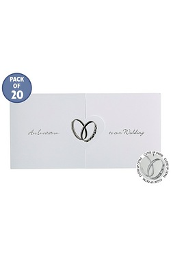 Personalised Rings Silver Wedding Invitations