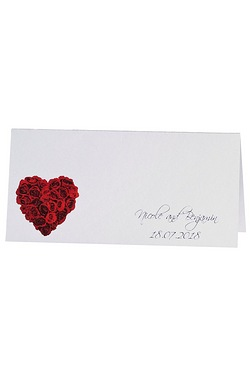 40 Personalised Rose Heart Wedding Place Cards