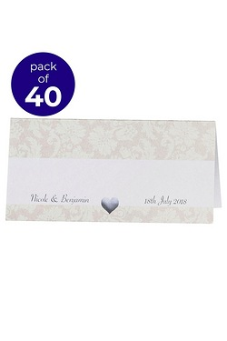 40 Personalised Damask Wedding Place Cards