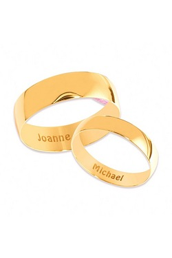 Personalised Polished Yellow Gold Wedding Band - 4mm
