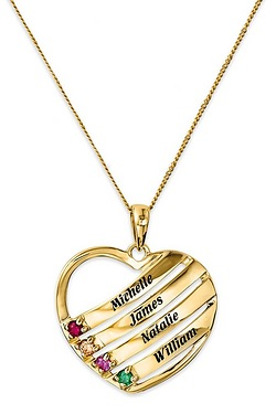 9ct Gold Personalised Heart 4 Birthstone Pendant
