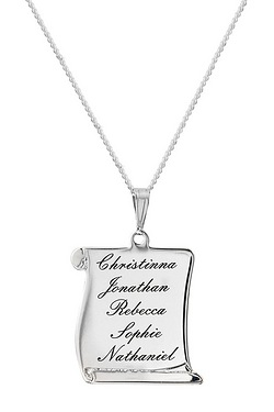 Personalised Silver Scroll Pendant