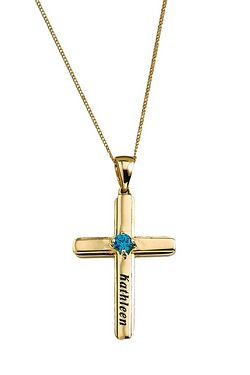 Personalised Gold Cross 1 Birthstone Pendant