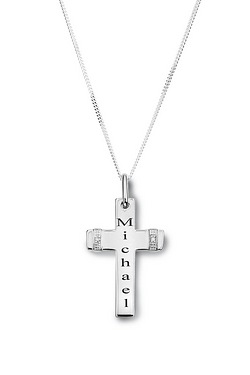 Personalised Gents Silver Cross Pendant