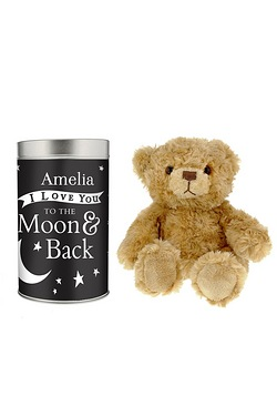 To The Moon and Back Personalised Teddy In A Tin