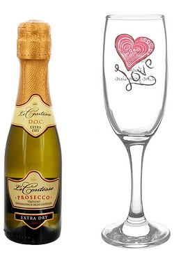 Love Heart Flute and Miniature Prosecco Set