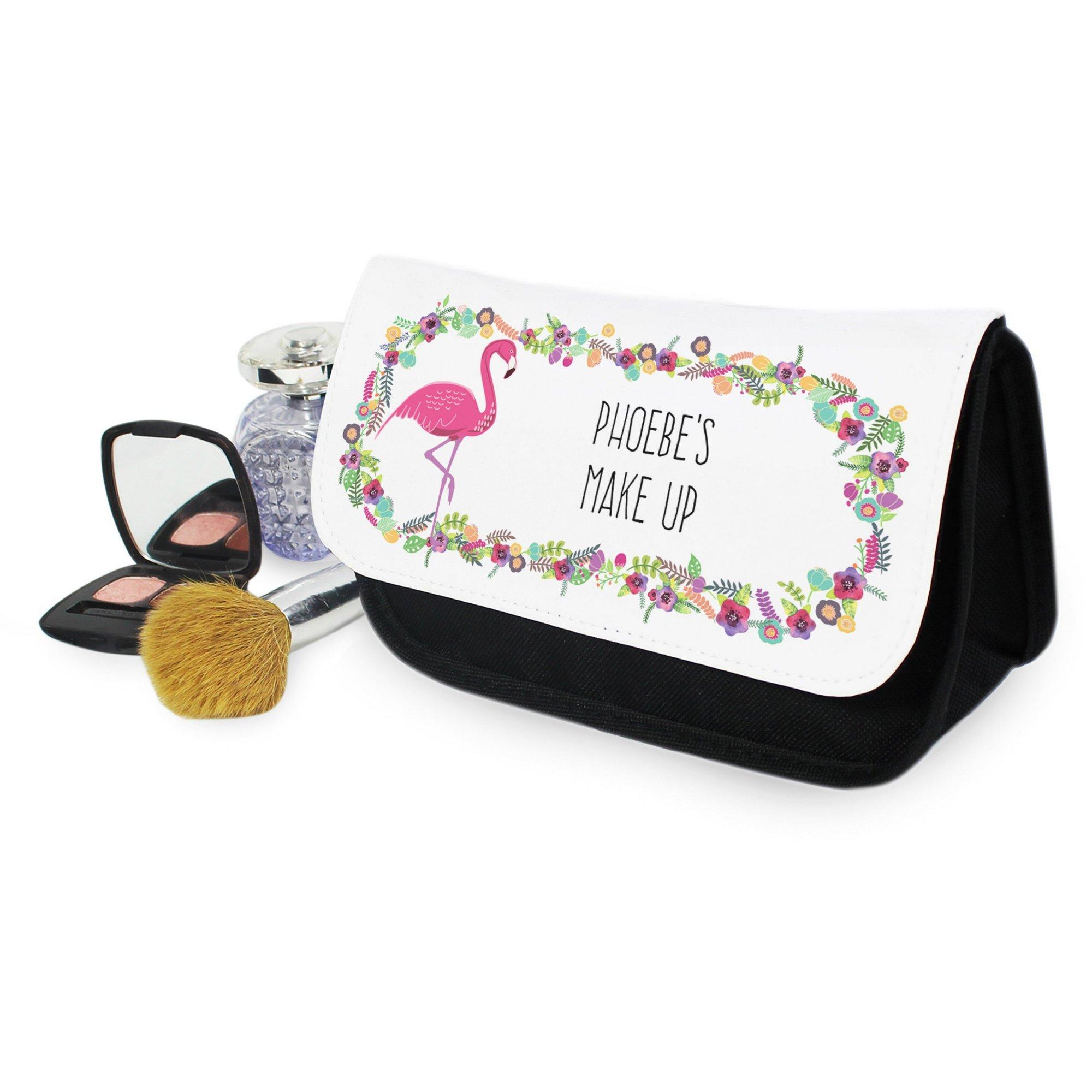 Image of Personalised Flamingo Make Up Bag