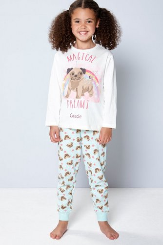 Image for Girls Personalised Pug Pyjamas from studio