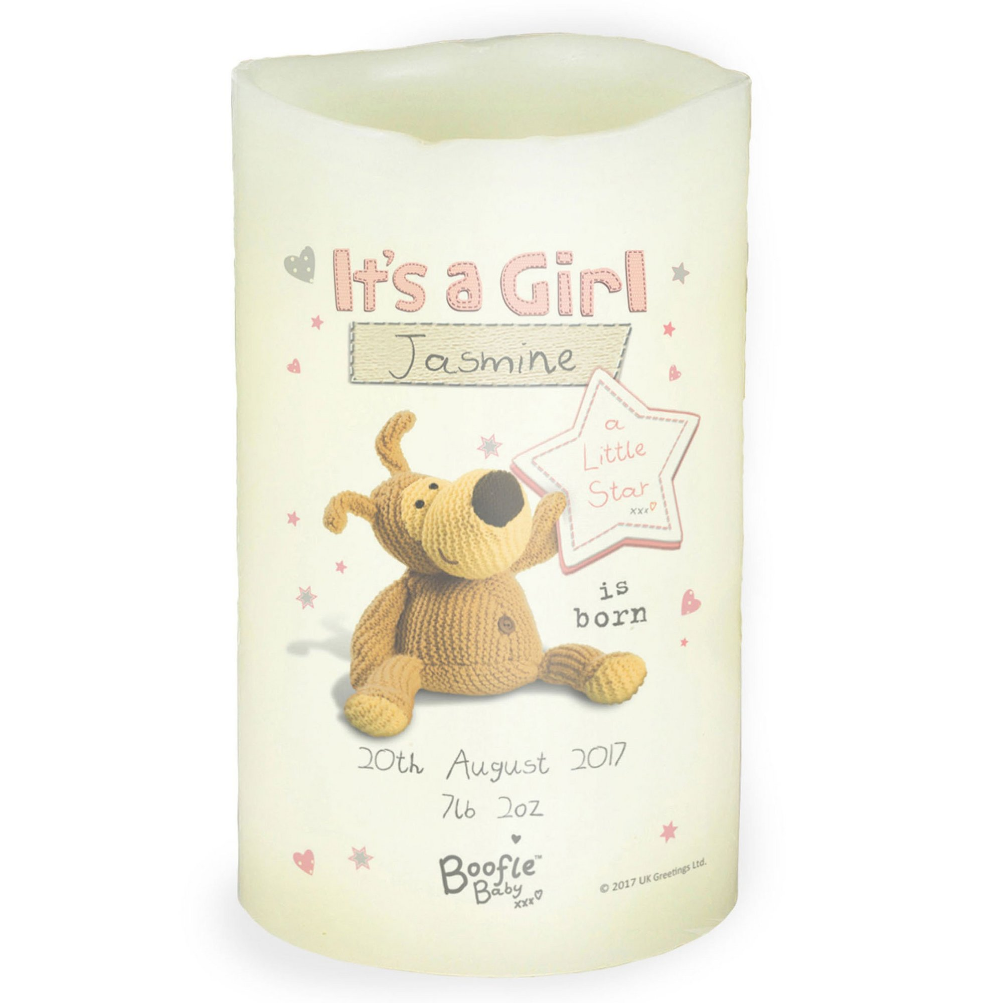 Image of Personalised Boofle Its a Girl Nightlight Candle