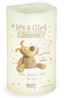 Personalised Boofle Its a Girl Nightlight Candle