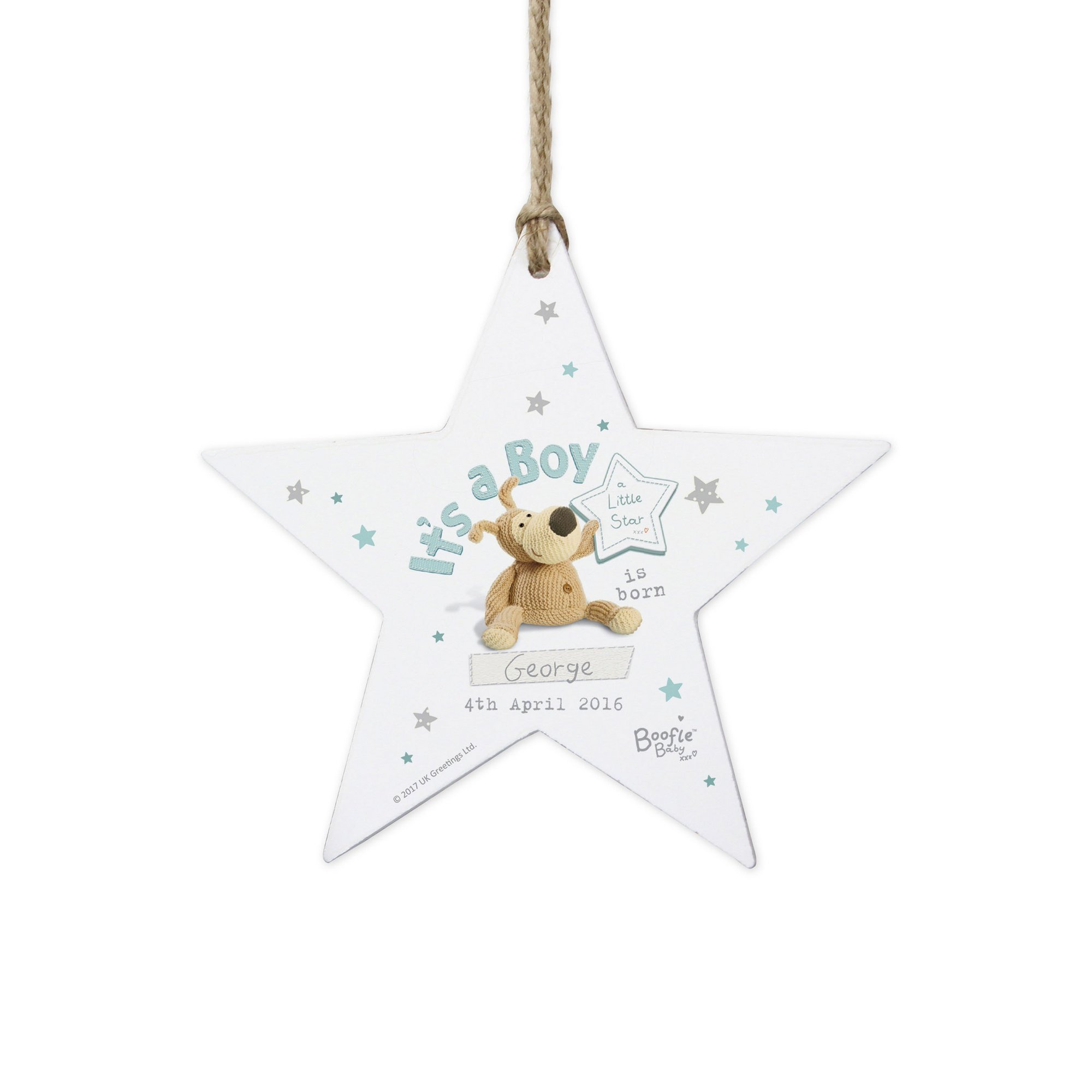 Image of Personalised Boofle Its a Boy Star Decoration