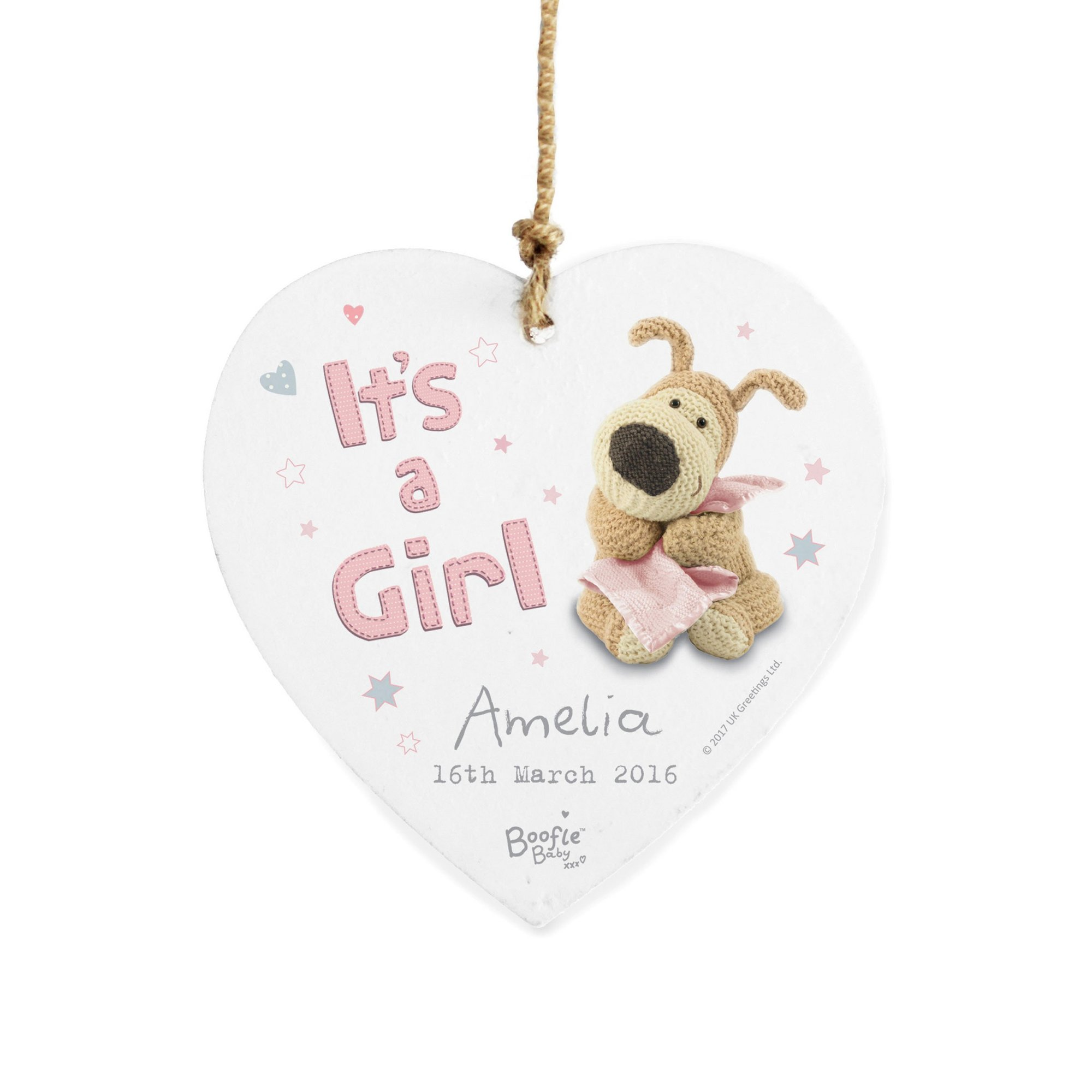 Image of Personalised Boofle Its a Girl Heart Decoration