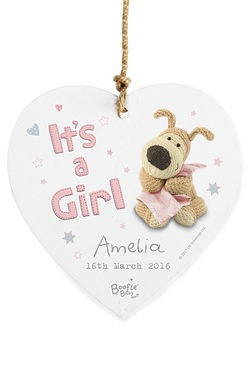 Personalised Boofle Its a Girl Heart Decoration