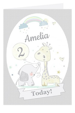Personalised Hessian Giraffe and Elephant Card