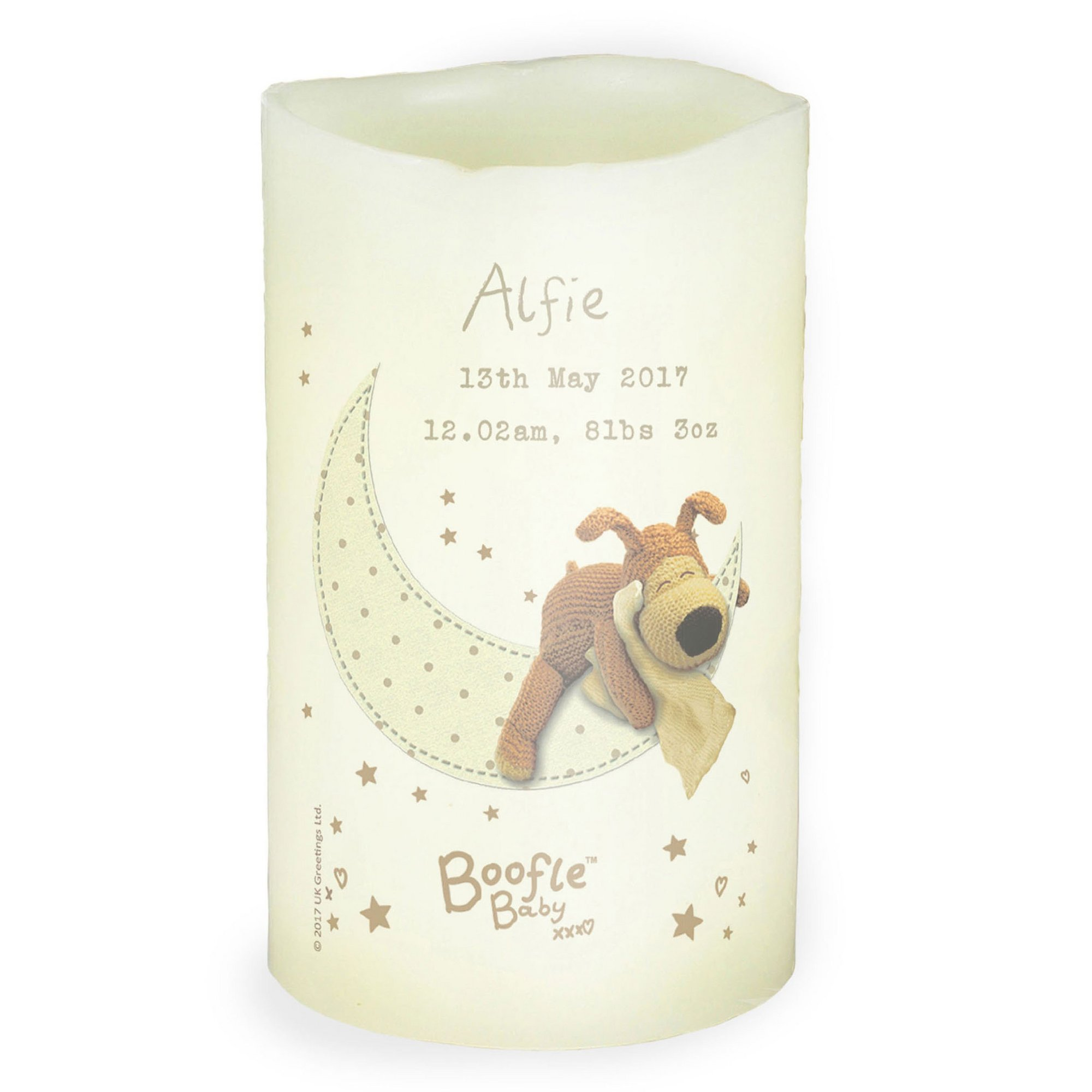 Image of Personalised Boofle Baby Nightlight LED Candle