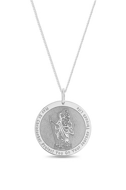 Personalised Sterling Silver St Christopher Matte Pendant