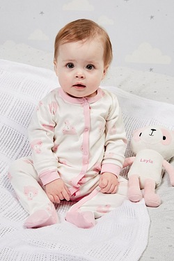 Babys Sleepsuit With Personalised Panda - Pink