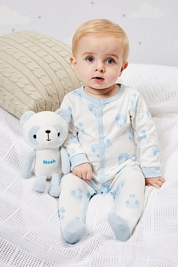 Babys Sleepsuit With Personalised Panda - Blue