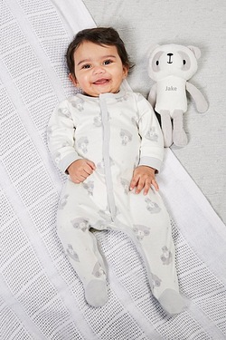 Babys Sleepsuit With Personalised Panda - Grey