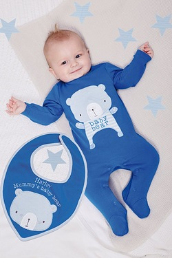 Baby Bear Sleepsuit With Personalised Bib
