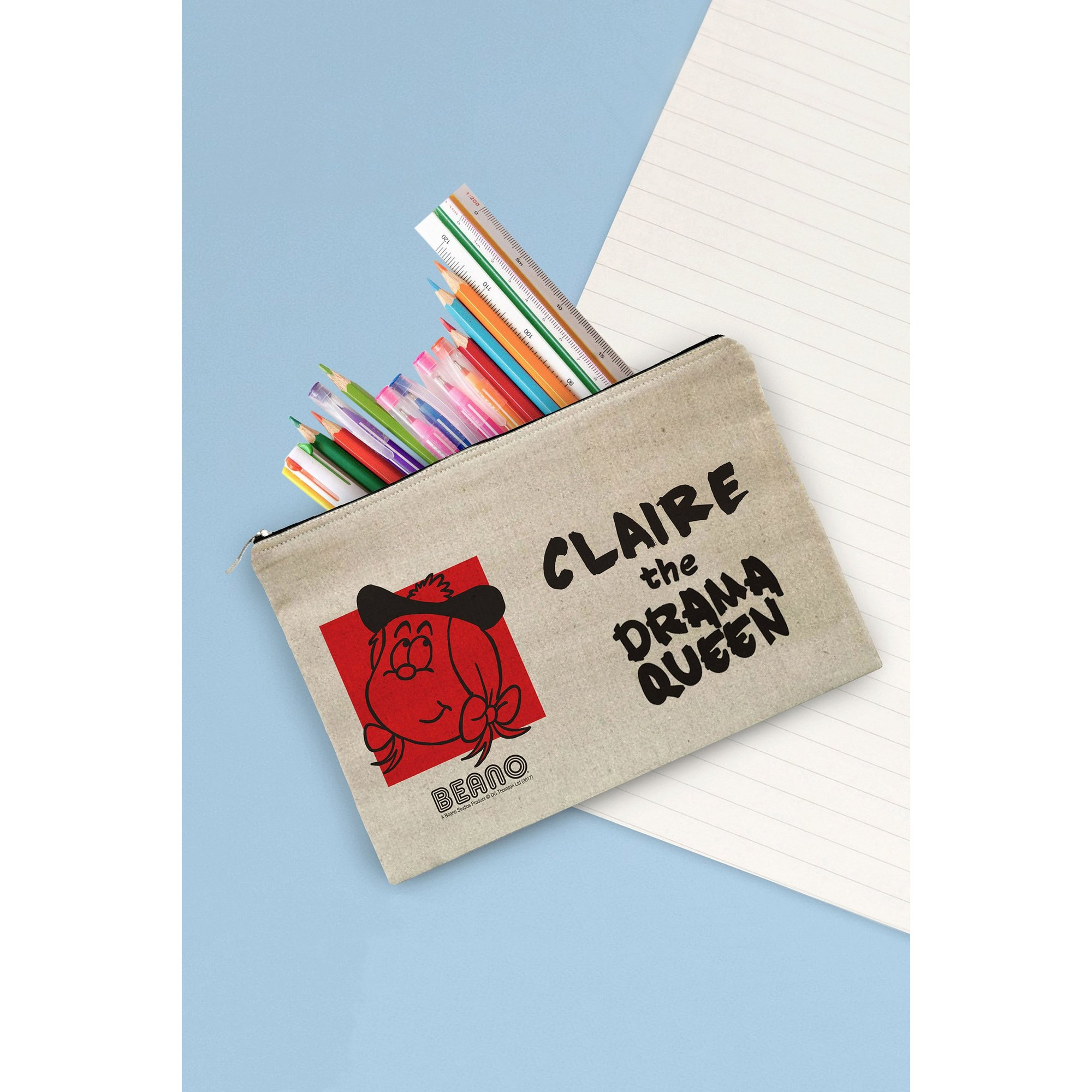 Image of Personalised Beano Big Heads Minnie Canvas Pencil Case